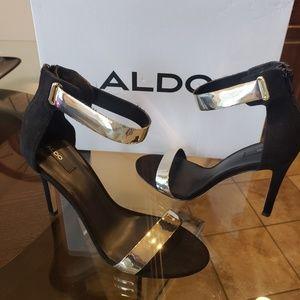 ALDO Black Heels with Gold Strap
